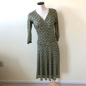 Boden double layer avocado print faux wrap dress